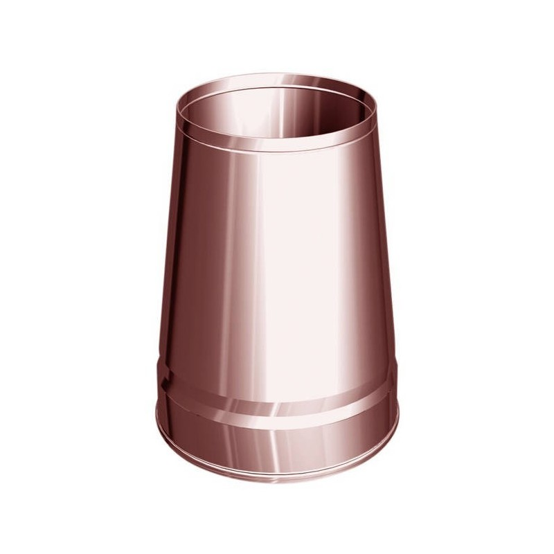 Truncated conical flue pipe cowl copper