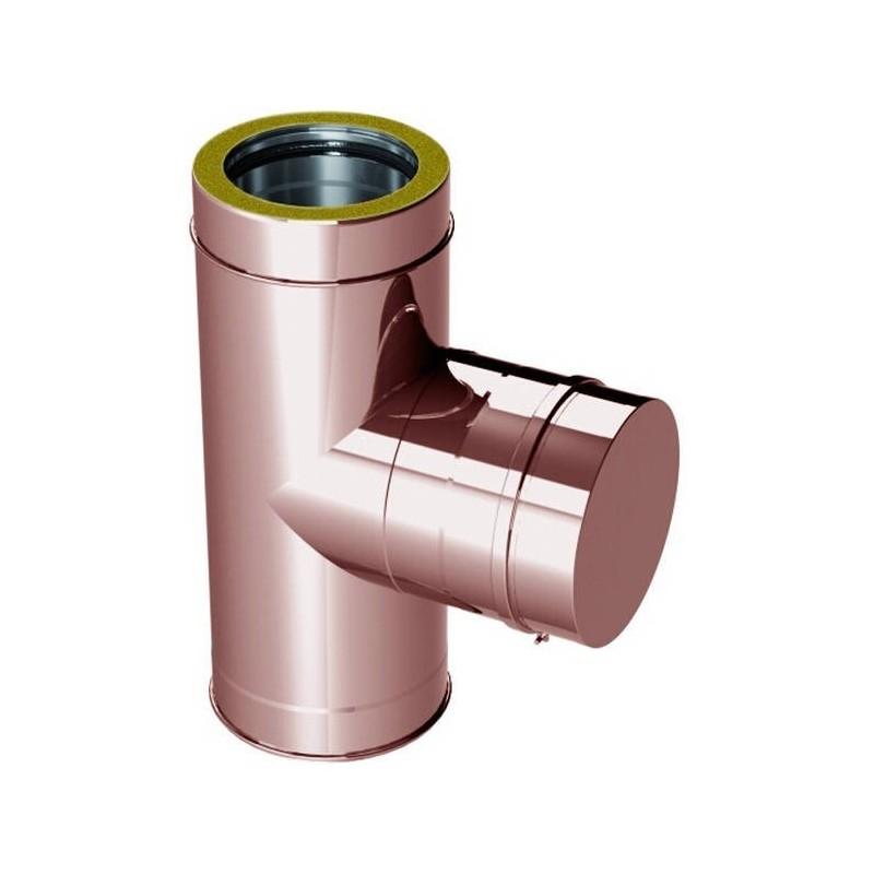 Raccord TÉ 90° pour inspection conduits de cheminée cuivre