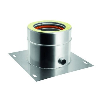 Base plate with lateral flue pipe condensation drain