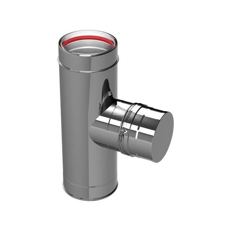 Raccord TÉ 90° pour inspection conduits de cheminée inoxydable Aria