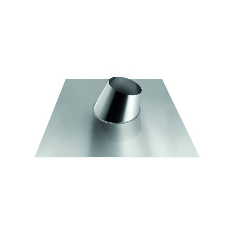 sloping cone-shaped flashing with aluminium plate for flue pipes