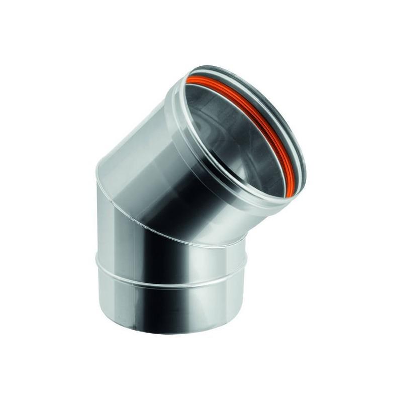 Coude 45° pour conduit de cheminée en acier inox à simple paroi