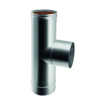 Raccord TÉ 90° mâle conduit de cheminée en acier inox à paroi simple