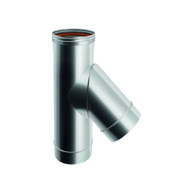 Raccord TÉ 45° conduit de cheminée en acier inox à paroi simple