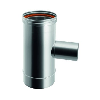 Flue pipe tee 90° joint reduced with Ø 80 male section single-wall stainless steel