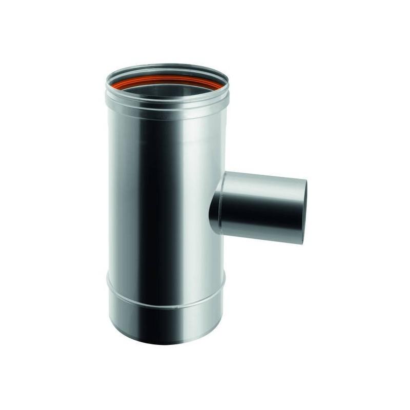 Raccord TÉ 90° réduit Ø 80 mâle conduit de cheminée en acier inox à paroi simple