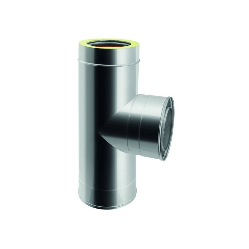 90° flue pipe tee joint with male internal offtake
