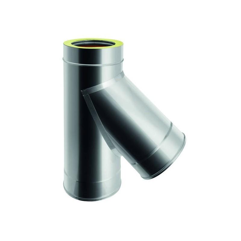 Racor TE 45º derivación interna macho conductos de humos