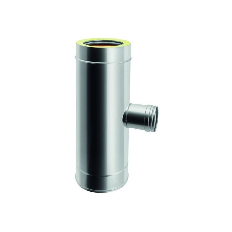Anschlussstück TE 90° reduziert auf einwandiges Rohr Ø 80 weiblich für Ofenrohre