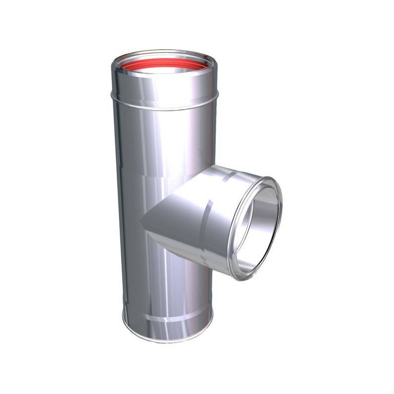90° flue pipe tee joint stainless