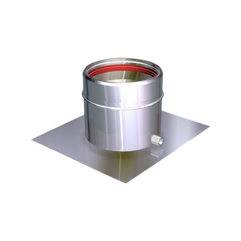 Base plate with lateral flue pipe condensation drain stainless Aria