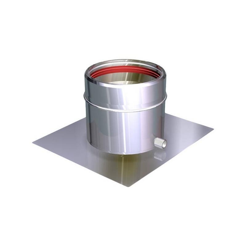 Ofenrohr-Konsolenblech mit seitlicher Kondensatentlüftung rostfrei Aria