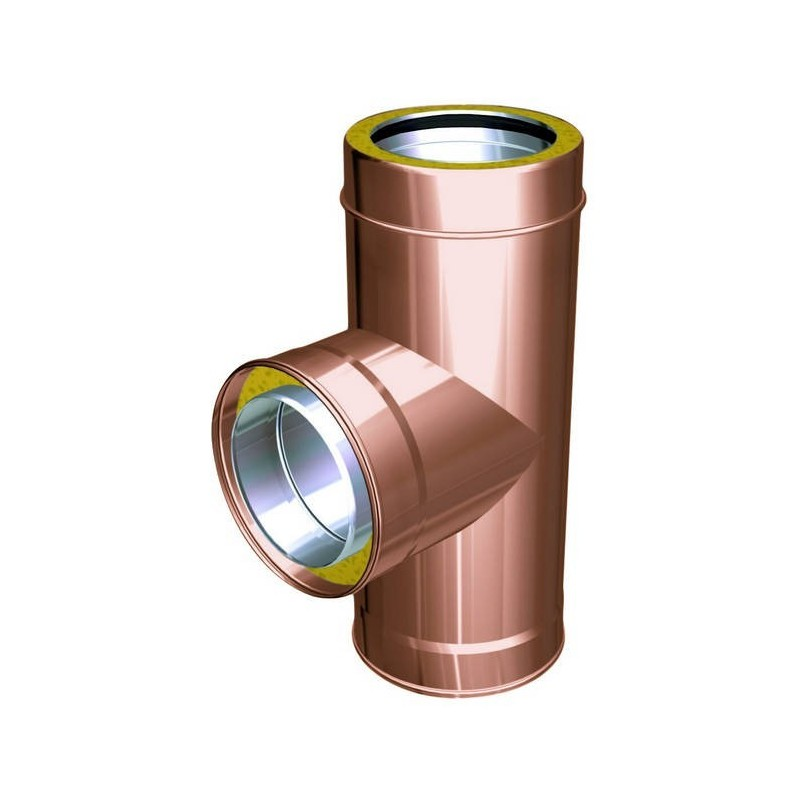 90° flue pipe tee joint copper
