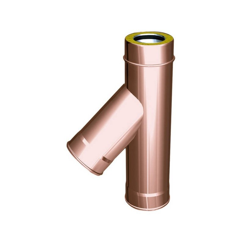 Racor TE 45° conductos de humos cobre