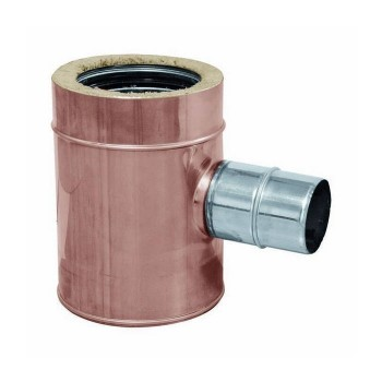 90° flue pipe reduced tee joint copper